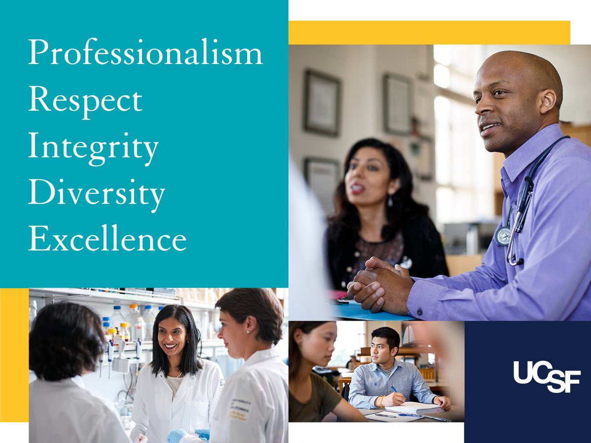 UCSF PRIDE Values are Professionalism, Respect, Integrity, Diversity, and Excellence.